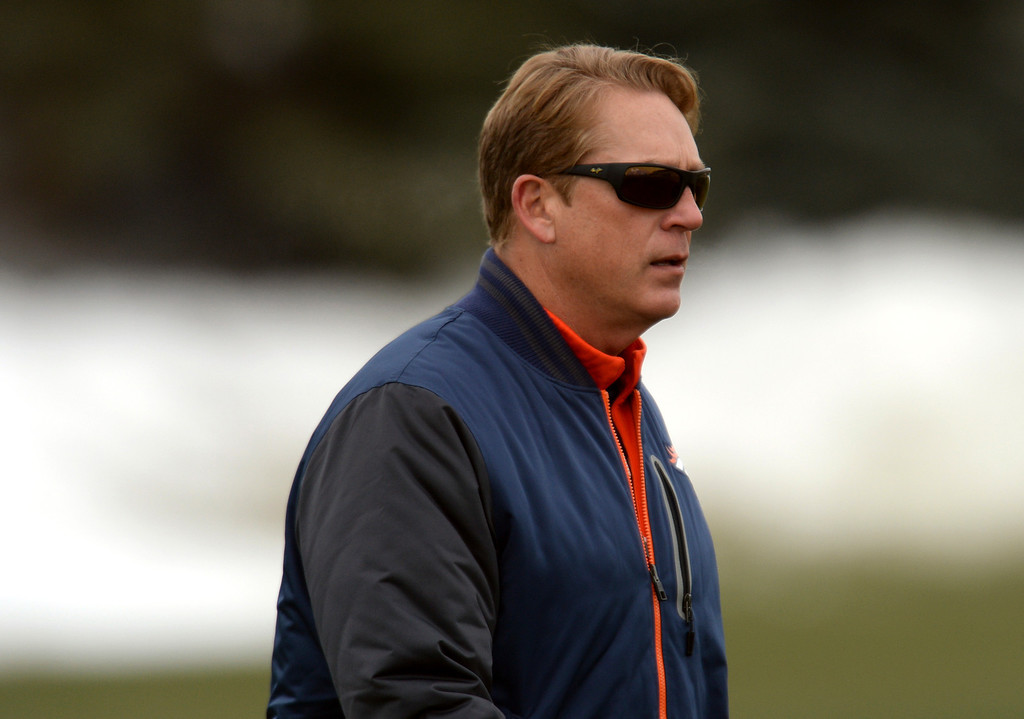 . CENTENNIAL, CO. NOVEMBER 22 : Interim Head Coach Jack Del Rio of Denver Broncos is in the team practice at the field in Denver Broncos Headquarters at Dove Valley. Centennial, Colorado. November 22, 2013. (Photo by Hyoung Chang/The Denver Post)