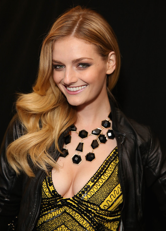 . NEW YORK, NY - FEBRUARY 09:  Lydia Hearst poses backstage at the Monique Lhuillier Fall 2013 fashion show during Mercedes-Benz Fashion Week at The Theatre at Lincoln Center on February 9, 2013 in New York City.  (Photo by Chelsea Lauren/Getty Images for Mercedes-Benz Fashion Week)