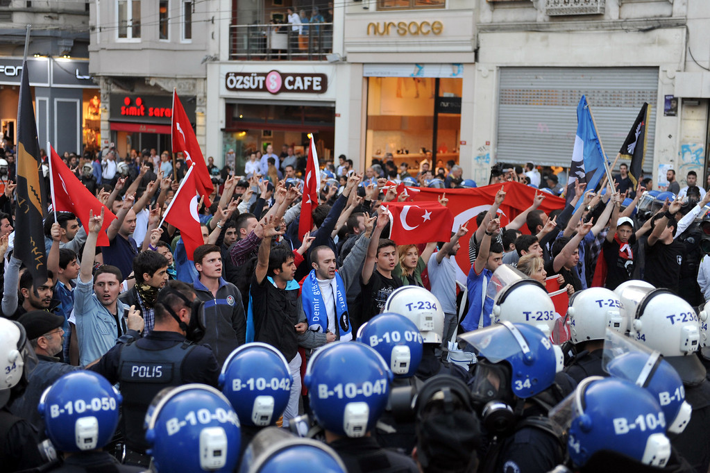 . Turkish riot policemen block Istiklal Avenue as Turkish nationalists protest against the Turkish government\'s policys on May 3, 2013, on Istiklal Avenue in Istanbul. Such recent incidents come as Ankara and the rebel leader of the Kurdistan Workers\' Party (PKK) are negotiating steps to a permanent peace that would end the outlawed PKK\'s insurgency, which in almost three decades has killed 45,000 people. OZAN KOSE/AFP/Getty Images
