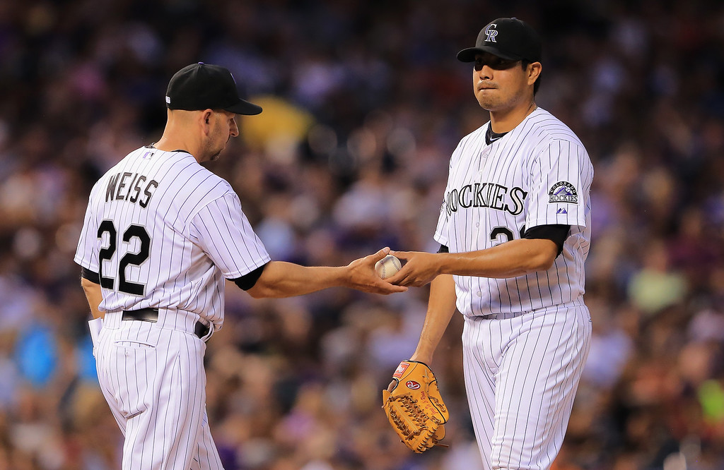 . Manager Walt Weiss #22 of the Colorado Rockies removes starting pitcher Jorge De La Rosa #29 of the Colorado Rockies from the game against the Washington Nationals in the sixth inning at Coors Field on June 12, 2013 in Denver, Colorado.  (Photo by Doug Pensinger/Getty Images)