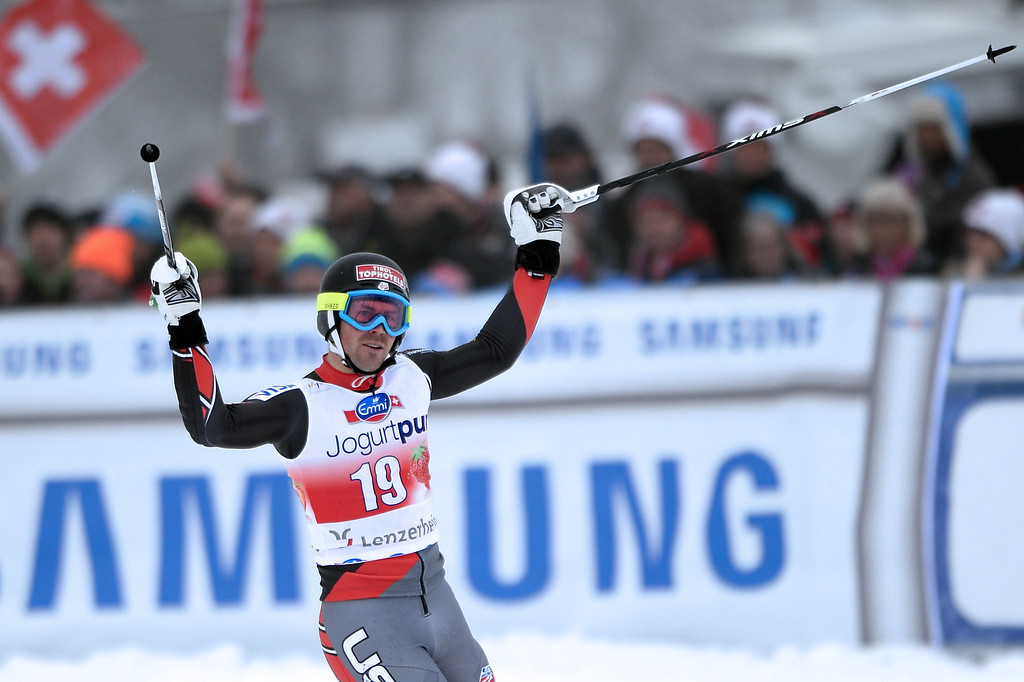 . David Chodounsky of the US reacts after the FIS Men\'s alpine skiing World Cup Slalom finals, on March 16, 2014,  in Lenzerheide. AFP PHOTO / FABRICE COFFRINI