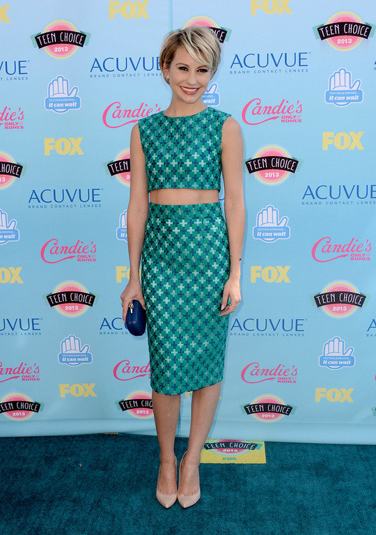 . Chelsea Kane arrives at the Teen Choice Awards at the Gibson Amphitheater on Sunday, Aug. 11, 2013, in Los Angeles. (Photo by Jordan Strauss/Invision/AP)