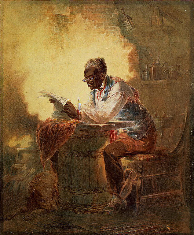 """. Man reading a newspaper with headline, \""""Presidential Proclamation, Slavery,\"""" which refers to the Jan. 1863 Emancipation Proclamation. Stephens, H. L. (Henry Louis), 1824-1882, artist.   Library of Congress"""