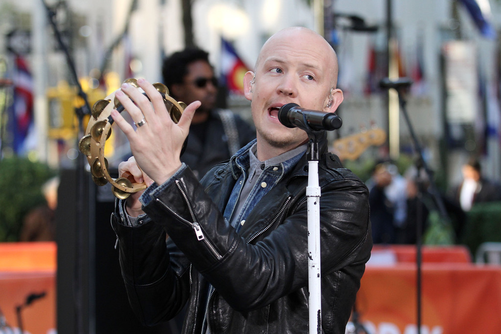 """. Isaac Slade of The Fray performs on NBC\'s \""""Today\"""" show on Tuesday, Oct. 22, 2013 in New York. (Photo by Greg Allen/Invision/AP)"""