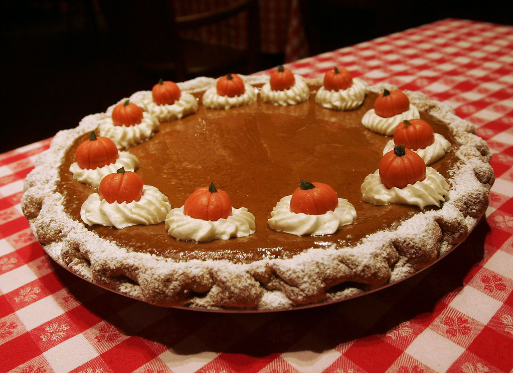 . Pumpkin Cream Cheese Pie, which combines tradition with a twist for a Thanksgiving dessert, is shown at Grand Central Oyster Bar, New York City, Tuesday, Nov. 1, 2005. It\'s an easy dessert to prepare with a recipe adapted for the home cook by the Oyster Bar\'s pastry chef, Januz Noka. (AP Photo/Jeff Christensen)