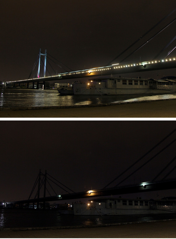 ". In this combo of two photos the illuminated ""New railroad bridge\"" over Sava river, top, and a picture of the bridge with most of its lights turned off, are seen in Belgrade, Serbia, Saturday, March 23, 2013. Organised by the World Wide Fund for Nature, earth hour is observed every year to create awareness about conservation of energy and climate change. Around the world, people and organisations will be turning their lights off from 8:30 to 9:30 pm local time. (AP Photo/Darko Vojinovic)"