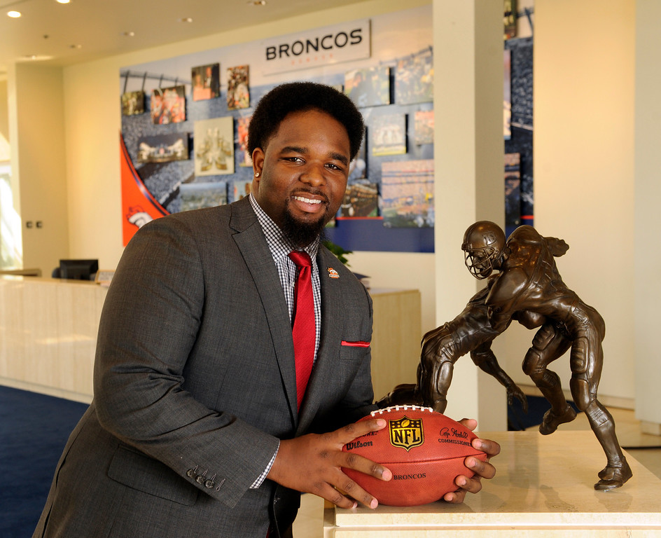 . DENVER, CO. - APRIL 25:  The Denver Broncos first draft choice, Sylvester Williams from North Carolina, posed for a photo at team headquarters Friday evening, April 26, 2013. Photo By Karl Gehring/The Denver Post