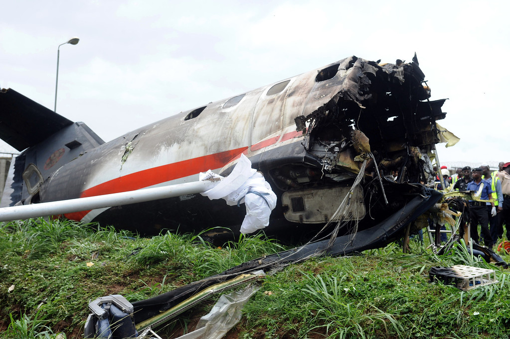 . A picture shows the wreckage of an Associated Airlines plane that crash-landed at Sahara Airport shortly after takeoff in Lagos on October 3, 2013.  AFP PHOTO/PIUS UTOMI EKPEI /AFP/Getty Images