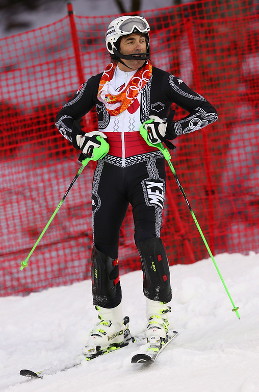 . Mexico\'s Hubertus von Hohenlohe reacts after crashing in the first run of the men\'s slalom at the Sochi 2014 Winter Olympics, Saturday, Feb. 22, 2014, in Krasnaya Polyana, Russia. (AP Photo/Alessandro Trovati)