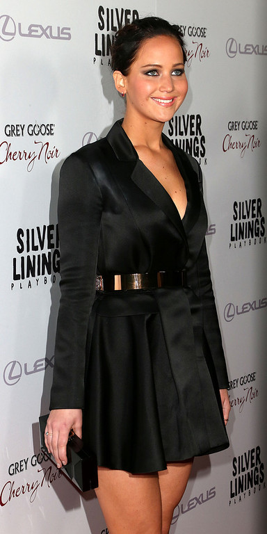 ". Actress Jennifer Lawrence attends the Screening Of The Weinstein Company\'s ""Silver Linings Playbook\"" at The Academy of Motion Pictures Arts and Sciences on November 19, 2012 in Beverly Hills, California.  (Photo by Frederick M. Brown/Getty Images)"