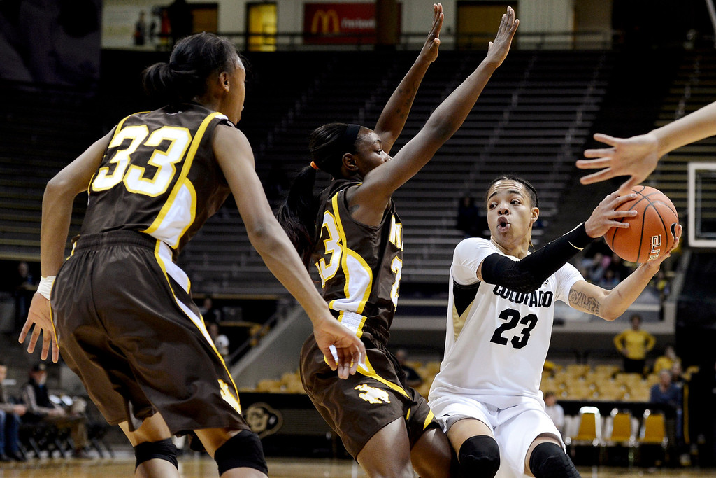 . Colorado\'s Chucky Jeffery drives basket against Wyoming\'s Chaundra Sewell (33) during their NCAA college basketball game, Wednesday, Nov. 28, 2012, in Boulder, Colo. (AP Photo/The Daily Camera, Jeremy Papasso)
