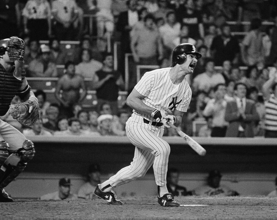 . DON MATTINGLY -- New York Yankees Don Mattingly cracks a three-run home run with two out in the bottom of the ninth at Yankee Stadium in New York on May 13, 1985. The homer enabled the Yankees to win 9-8 over the Minnesota Twins, after trailing 8-0. (AP Photo/Ray Stubblebine)