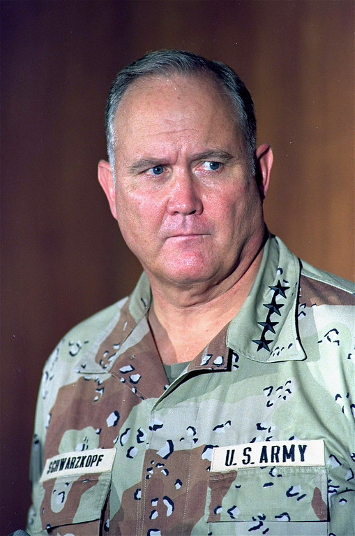 . Gen. H. Norman Schwarzkopf, commander of the allied forces in Operation Desert Storm, is shown in this 1991 photo. Schwarzkopf, who rose to fame as the leader of the lightning quick dismantling of Saddam Hussein\'s forces in the first Gulf War, is laid to rest at the U.S. Military Academy at West Point Thursday Feb. 28, 2013.   (AP Photo)