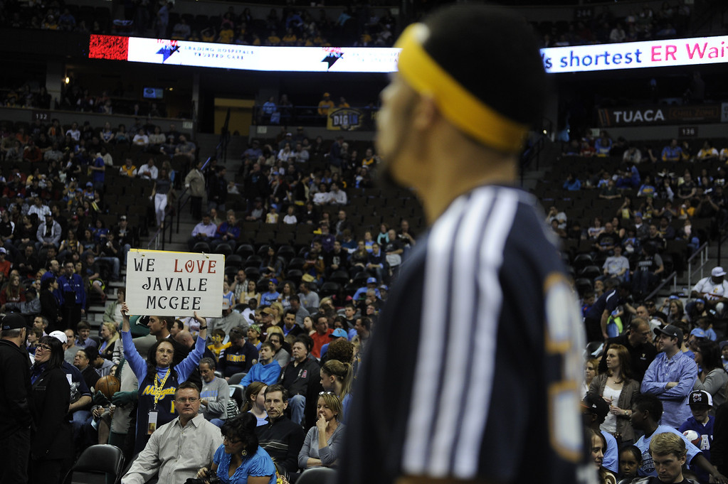 . DENVER, CO. - MARCH 29: JaVale McGee (34) of the Denver Nuggets has found a following in Colorado. The Denver Nuggets hosted the Brooklyn Nets Friday night, March 29, 2013 at the Pepsi Center in Denver.  (Photo By Karl Gehring/The Denver Post)