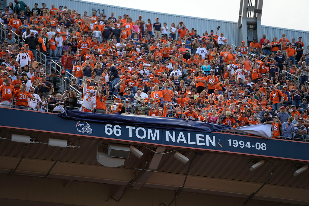 . Former Denver Broncos  Tom Nalen gets his name in the ring of fame during a ceremony at halftime of the Denver Broncos Philadelphia Eagles game September 29, 2013 at Sports Authority at Mile High. (Photo by John Leyba/The Denver Post)