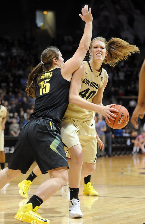 . Rachel Hargis of CU looks to shoot over Liz Brenner of Oregon. Cliff Grassmick / February 10, 2013