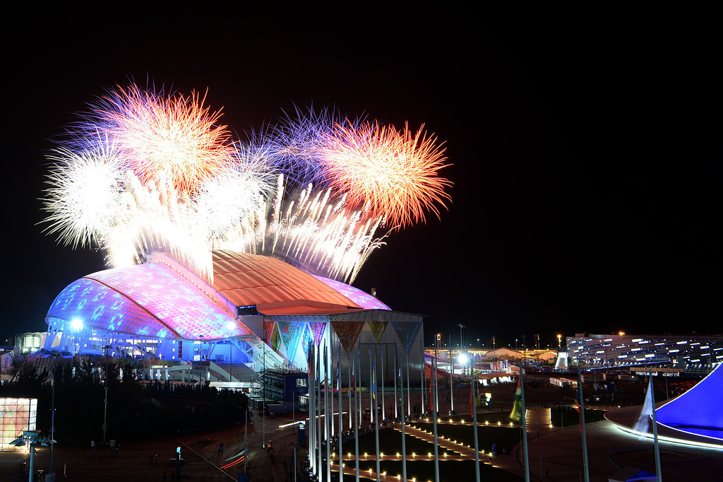 . Fireworks explode over the Fisht Olympic Stadium at the beginning of the Opening Ceremony of the Sochi Winter Olympics at on February 7, 2014 in Sochi.   AFP PHOTO / PETER PARKS/AFP/Getty Images