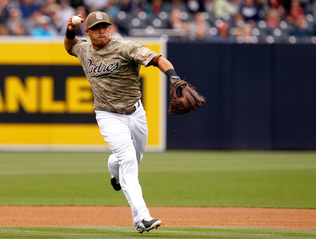 . San Diego Padres shortstop Everth Cabrera throws out Colorado Rockies\' Michael Cuddyer  to end the first inning during an MLB baseball game Sunday April 14, 2013, in San Diego. (AP Photo/Alex Gallardo)