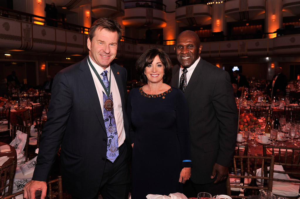 . (L-R) Legend and golf pro Nick Faldo, LeslieAnne Wade and Former NFL Player Harry Carson attend the 28th Annual Great Sports Legends Dinner to Benefit The Buoniconti Fund To Cure Paralysis at The Waldorf Astoria on September 30, 2013 in New York City.  (Photo by Stephen Lovekin/Getty Images for The Buoniconti Fund To Cure Paralysis)