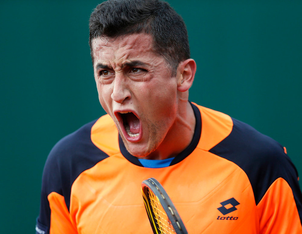 . Spain\'s Nicolas Almagro reacts after a point against France\'s Edouard Roger-Vasselin during their French Tennis Open match at the Roland Garros stadium in Paris, on May 29,  2013.  PATRICK KOVARIK/AFP/Getty Images