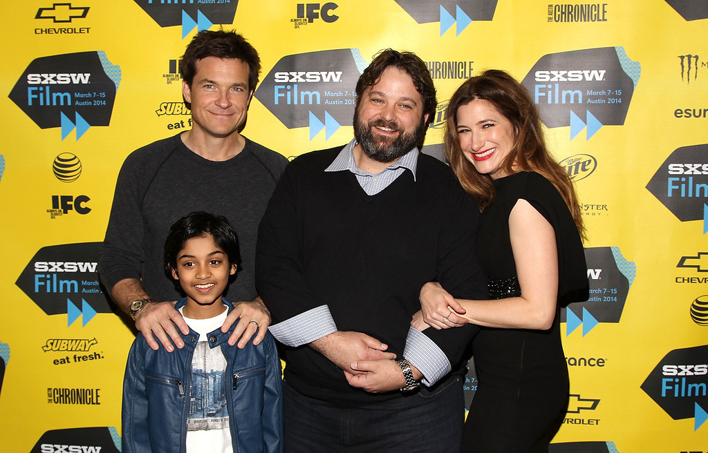 ". (L-R) Actors Jason Bateman, Rohan Chand, Screenwriter Andrew Dodge and Actress Kathryn Hahn arrive at the SXSW Red Carpet Screening Of Focus Features\' ""Bad Words\"" on March 7, 2014 in Austin, Texas.  (Photo by Jonathan Leibson/Getty Images for Focus Features)"