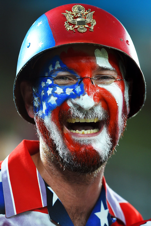. A United States fan enjoys the atmosphere prior to kickoff during the 2014 FIFA World Cup Brazil Group G match between Ghana and the United States at Estadio das Dunas on June 16, 2014 in Natal, Brazil.  (Photo by Jamie McDonald/Getty Images)