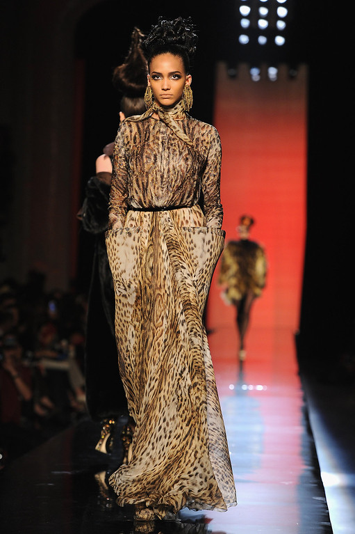 . A model walks the runway during the Jean Paul Gaultier show as part of Paris Fashion Week Haute-Couture Fall/Winter 2013-2014 at 325 Rue Saint Martin on July 3, 2013 in Paris, France.  (Photo by Pascal Le Segretain/Getty Images)