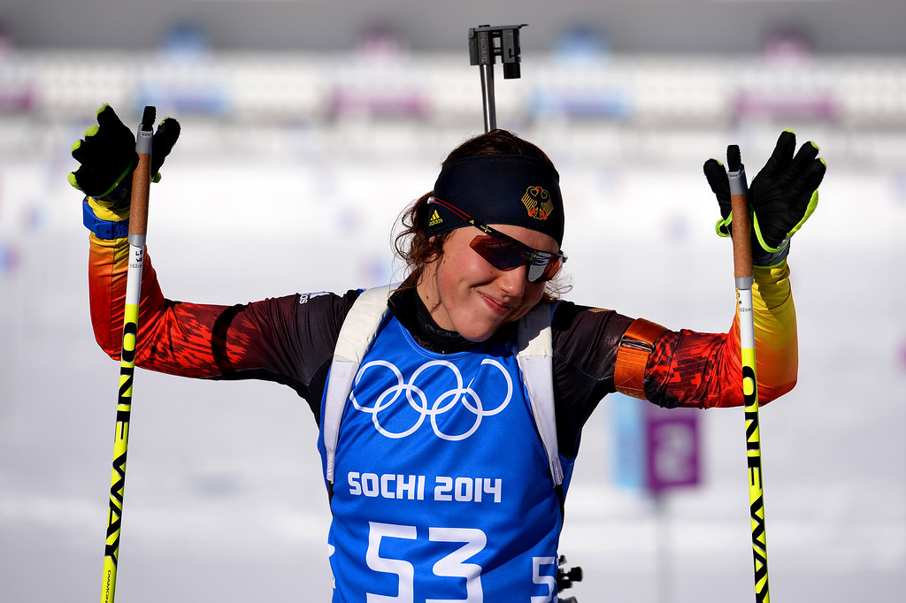 . Biathlete Laura Dahlmeier of Germany smiles during training ahead of the Sochi 2014 Winter Olympics at the Laura Cross-Country Ski and Biathlon Center on February 5, 2014 in Sochi, Russia.  (Photo by Lars Baron/Getty Images)