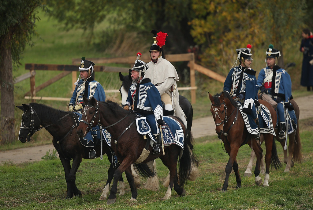 . Historical society enthusiasts in the role of Saxon Hussars fighting under Napoleon arrive to re-enact The Battle of Nations on its 200th anniversary on October 20, 2013 near Leipzig, Germany. (Photo by Sean Gallup/Getty Images)