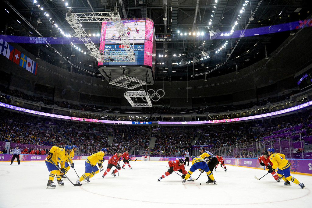 . Sweden and Switzerland face off during the third period of Sweden\'s 1-0 preliminary round group C win at Bolshoy Arena. Sochi 2014 Winter Olympics on Friday, February 14, 2014. (Photo by AAron Ontiveroz/The Denver Post)