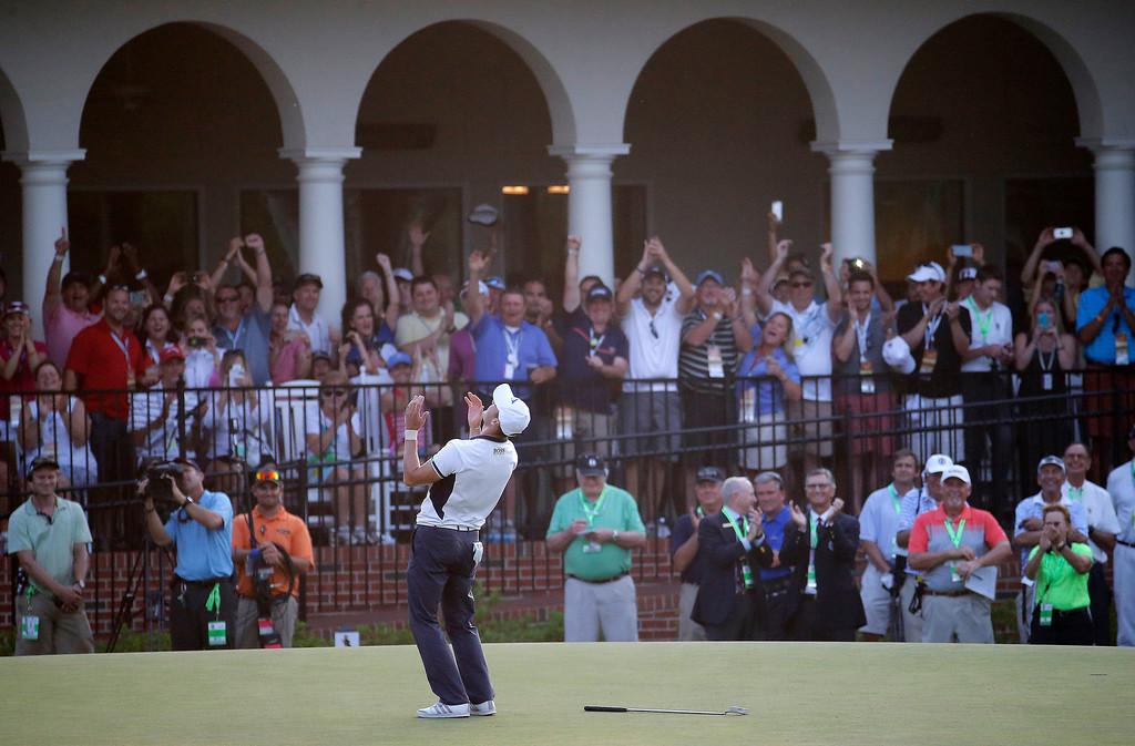 . Martin Kaymer, of Germany celebrates after winning the U.S. Open golf tournament in Pinehurst, N.C., Sunday, June 15, 2014. (AP Photo/Matt York)