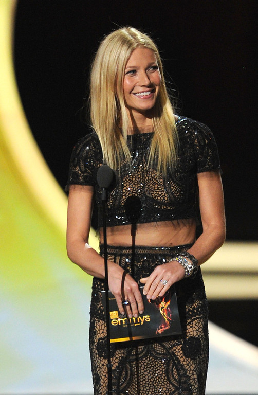 . Actress Gwenyth Paltrow speaks onstage during the 63rd Annual Primetime Emmy Awards held at Nokia Theatre L.A. LIVE on September 18, 2011 in Los Angeles, California.  (Photo by Kevin Winter/Getty Images)