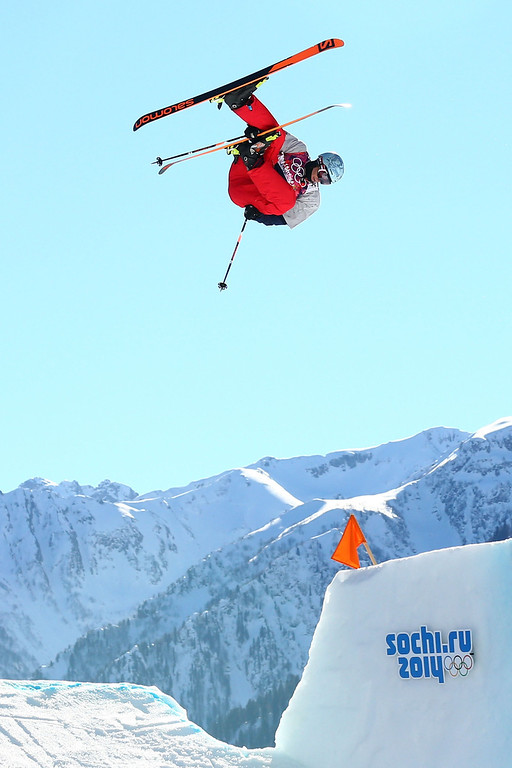 . Bobby Brown of the United States competes in the Freestyle Skiing Men\'s Ski Slopestyle Qualification during day six of the Sochi 2014 Winter Olympics at Rosa Khutor Extreme Park on February 13, 2014 in Sochi, Russia.  (Photo by Cameron Spencer/Getty Images)
