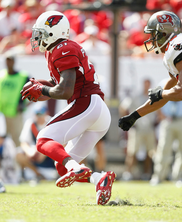 . TAMPA, FL - SEPTEMBER 29:  Patrick Peterson #21 of the Arizona Cardinals intercepts the ball against the Tampa Bay Buccaneers during the 4th quarter at Raymond James Stadium on September 29, 2013 in Tampa, Florida. ( Photo by Scott Iskowitz/Getty Images)