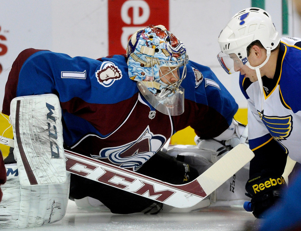 . Avs goaltender Semyon Varlamov (1) shared a word with Blues wing Vladimir Tarasenko (91) before the game. TThe St. Louis Blues beat the Colorado Avalanche 4-1 at the Pepsi Center Wednesday night, November 27, 2013.  Photo By Karl Gehring/The Denver Post