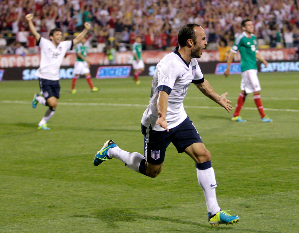 . United States\' Landon Donovan celebrates his goal against Mexico during the second half of a World Cup qualifying soccer match Tuesday, Sept. 10, 2013, in Columbus, Ohio. The United States defeated Mexico 2-0. (AP Photo/Jay LaPrete)