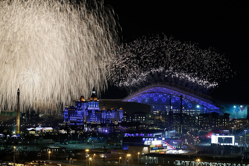 . A general view of fireworks over Fisht Olympic Stadium during the Opening Ceremony of the Sochi 2014 Winter Olympics on February 7, 2014 in Sochi, Russia.  (Photo by Joe Scarnici/Getty Images)