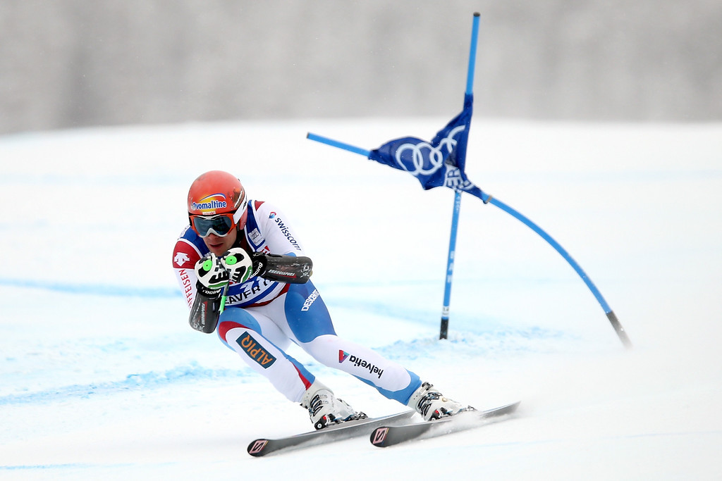 . Patrick Kueng #28 of Switzerland competes in the men\'s Super-G race at the Birds of Prey Audi FIS Ski World Cup on December 7, 2013 in Beaver Creek, Colorado.  (Photo by Matthew Stockman/Getty Images)