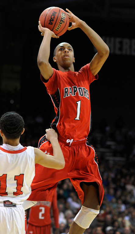 . BOULDER, CO. - MARCH 16: Raptor senior forward Rayjon Craig (1) pulled up for a jump shot in the second half. The Eaglecrest High School boy\'s basketball beat Denver East 63-44 in the 5A championship game Saturday, March 16, 2013 at the Coors Events Center in Boulder.  (Photo By Karl Gehring/The Denver Post)