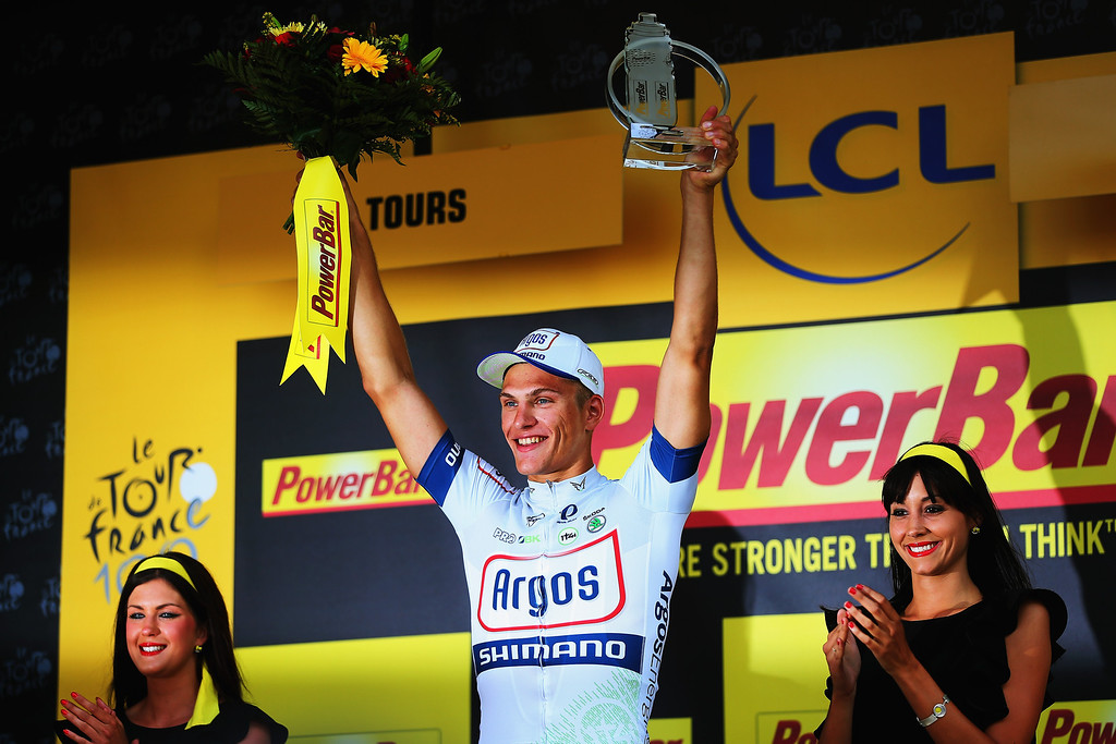 . TOURS, FRANCE - JULY 11:  Stage winner Marcel Kittel of Germany and Team Argos-Shimano celebrates after winning stage twelve of the 2013 Tour de France, a 218KM road stage from Fougeres to Tours, on July 11, 2013 in Tours, France.  (Photo by Bryn Lennon/Getty Images)