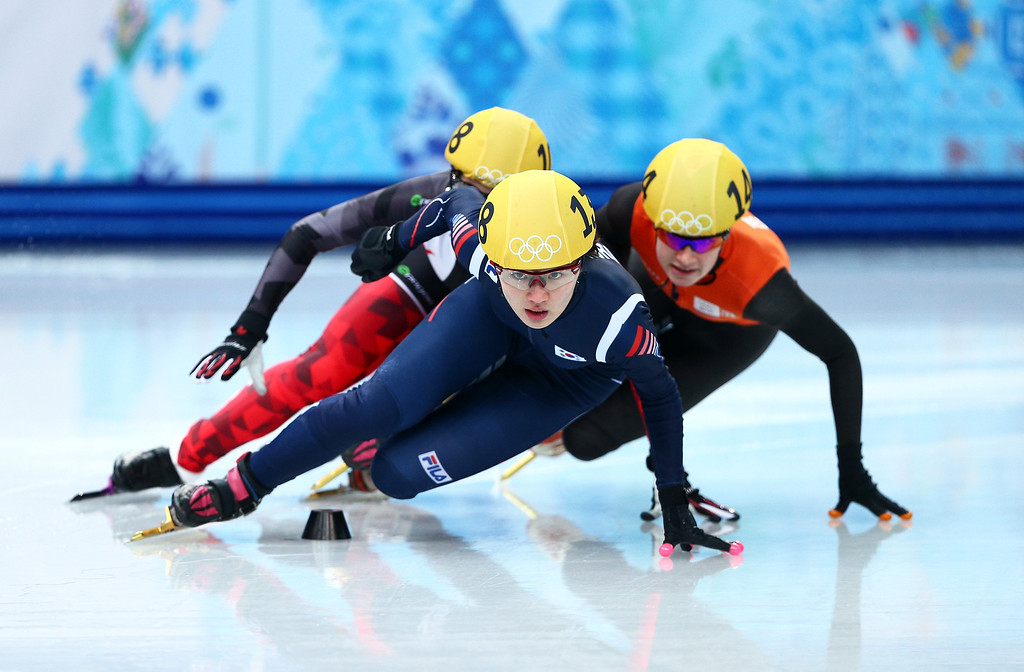 . SOCHI, RUSSIA - FEBRUARY 13:  Marianne St. Gelais of Canada, Seung-Hi Park of Korea and Yara van Kerkhof of the Netherlands compete in the Women\'s Short Track 500m heats on day 6 of the Sochi 2014 Winter Olympics at at Iceberg Skating Palace on February 13, 2014 in Sochi, Russia.  (Photo by Clive Mason/Getty Images)