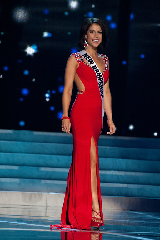 . This photo provided by the Miss Universe Organization, Miss New Hampshire USA 2013, Amber Faucher competes in her evening gown during the 2013 Miss USA Competition Preliminary Show  in Las Vegas  on Wednesday June 12, 2013.  She will compete for the title of Miss USA 2013 and the coveted Miss USA Diamond Nexus Crown on June 16, 2013.  (AP Photo/Miss Universe Organization, Patrick Prather)