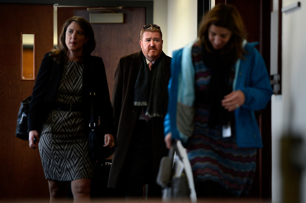. CENTENNIAL, CO. - APRIL 10: James Holmes Defense attorney Daniel King (center) leaves a hearing for Fox News reporter Jana Winter for protecting her sources in a story connected to mass murderer James Holmes at the Arapahoe County Justice Center April 10, 2013 Centennial, Colorado. (Photo By Joe Amon/The Denver Post)