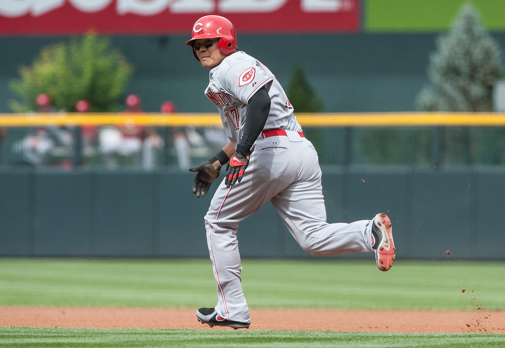 . Shin-Soo Choo #17 of the Cincinnati Reds successfully steals second base in the first inning of a game against the Colorado Rockies at Coors Field on September 1, 2013 in Denver, Colorado. (Photo by Dustin Bradford/Getty Images)