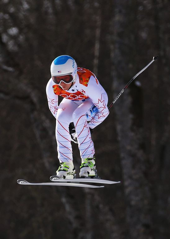 . Julia Mancuso of the United States in action during the Alpine Skiing Women\'s Super Combined Downhill on day 3 of the Sochi 2014 Winter Olympics at Rosa Khutor Alpine Center on February 10, 2014 in Sochi, Russia.  (Photo by Doug Pensinger/Getty Images)