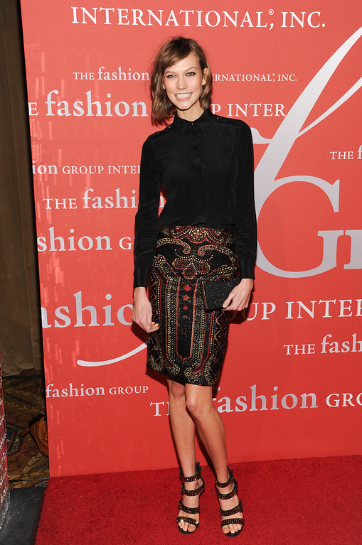 ". Model Karlie Kloss attends the Fashion Group International\'s 30th annual ""Night Of Stars\"" awards gala at Cipriani\'s Wall Street on Tuesday, Oct. 22, 2013, in New York. (Photo by Evan Agostini/Invision/AP)"