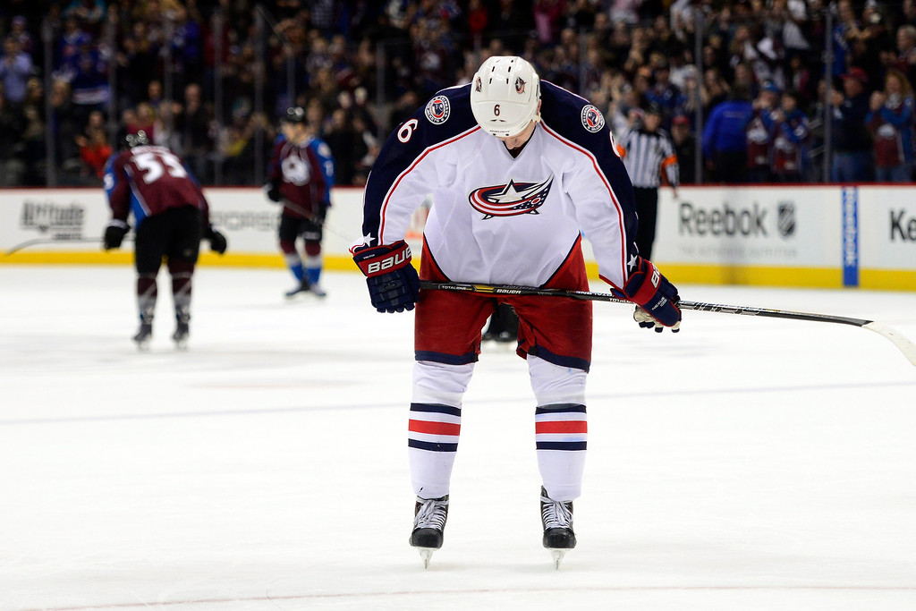 . Nikita Nikitin (6) of the Columbus Blue Jackets reacts following the third period of Colorado\'s 5-3 win.  (Photo by AAron Ontiveroz/The Denver Post)