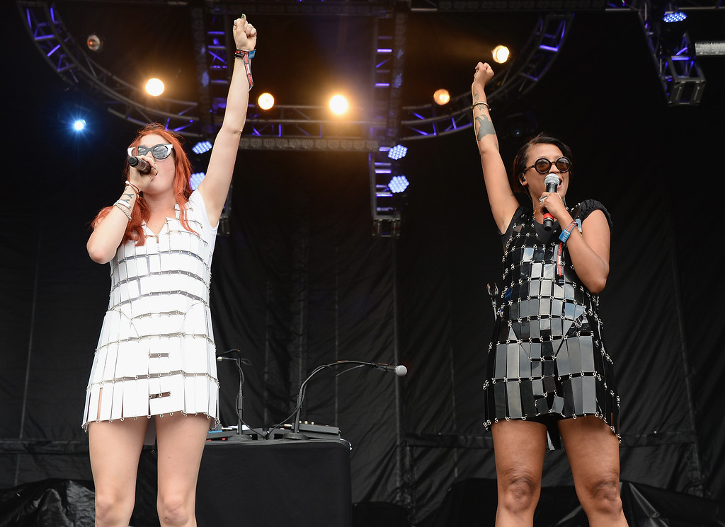 . CHICAGO, IL - AUGUST 02:  Caroline Hjelt and Aino Jawo of Icona Pop perform during Lollapalooza 2013 at Grant Park on August 2, 2013 in Chicago, Illinois.  (Photo by Theo Wargo/Getty Images)