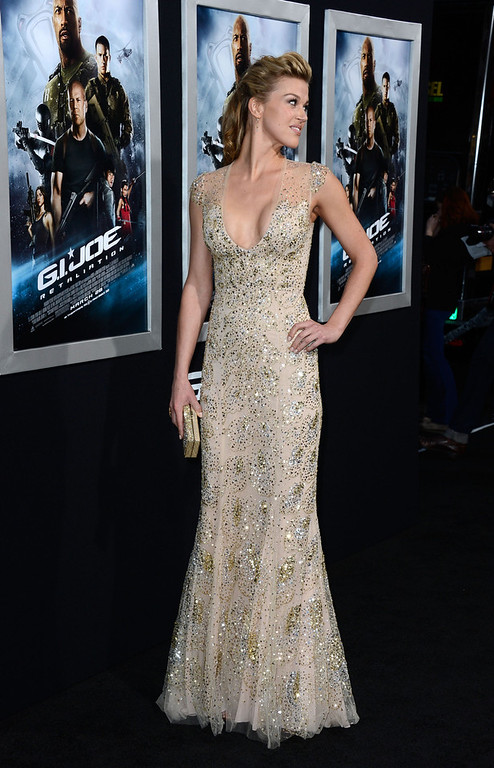 ". Actress Adrianne Palicki arrives at the Premiere of Paramount Pictures\' ""G.I. Joe: Retaliation\"" at TCL Chinese Theatre on March 28, 2013 in Hollywood, California.  (Photo by Frazer Harrison/Getty Images)"