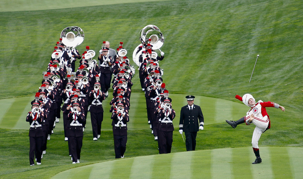 . DUBLIN, OH - OCTOBER 03:  The Ohio State University marching band plays prior to the start of the Day One Four-Ball Matches at the Muirfield Village Golf Club on October 3, 2013  in United States, Ohio  (Photo by Gregory Shamus/Getty Images)